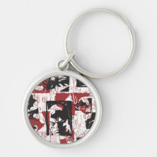 Batman Urban Legends - Mask & Fist Stamp Red Silver-Colored Round Keychain