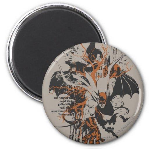 Batman Urban Legends - Orange Batman on Skeleton Fridge Magnets