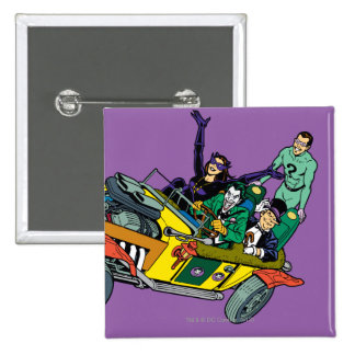 Batman Villains In Jokermobile 2 Inch Square Button