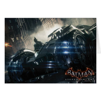 Batman With Batmobile In The Rain Card