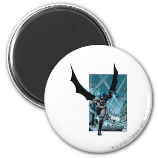 Batman with city background 2 inch round magnet