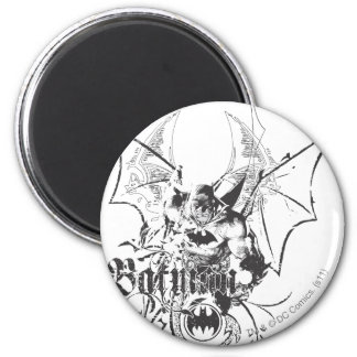 Batman with Logo and Wings 2 Inch Round Magnet