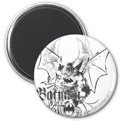 Batman with Logo and Wings Fridge Magnet