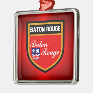 Baton Rouge Flag Silver-Colored Square Ornament