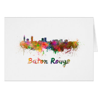 Baton Rouge skyline in watercolor copy Card