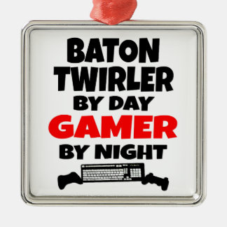 Baton Twirler by Day Gamer by Night Metal Ornament