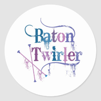 Baton Twirler Distressed Classic Round Sticker