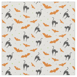 Bats and Cats Halloween Fabric