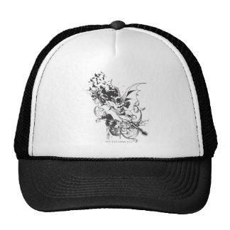 Bats and Floral Pattern Trucker Hat