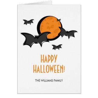 Bats and Moon Halloween Greeting Card