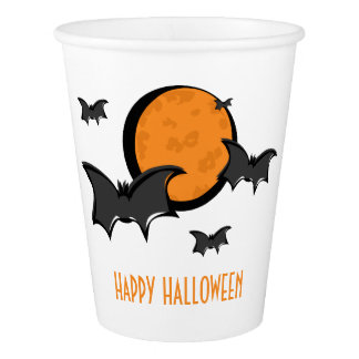 Bats and Moon Halloween Paper Cup