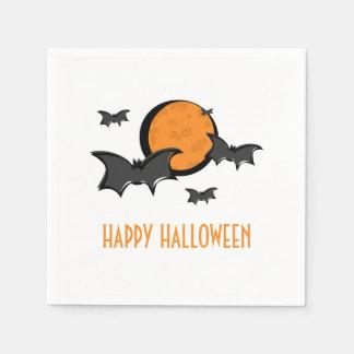 Bats and Moon Halloween Paper Napkins