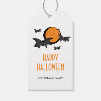 Bats and Moon Halloween Party Gift Tags