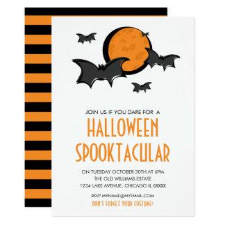 Bats and Moon Halloween Party Invitation Card