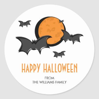 Bats and Moon Halloween Round Sticker