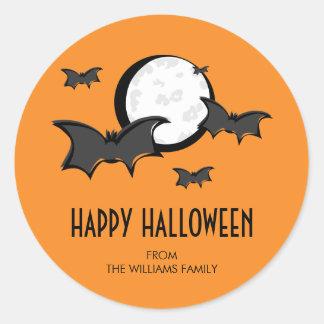 Bats and Moon Halloween Round Sticker Orange