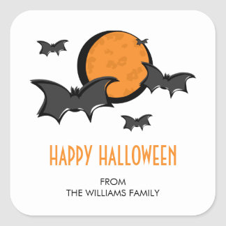 Bats and Moon Halloween Square Sticker