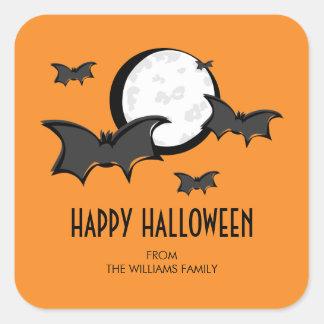 Bats and Moon Halloween Square Sticker Orange