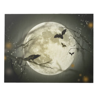 Bats By the Moon on Halloween Notepad