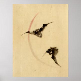 Bats Flying 1840 Poster