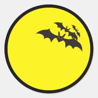 Bats full moon classic round sticker