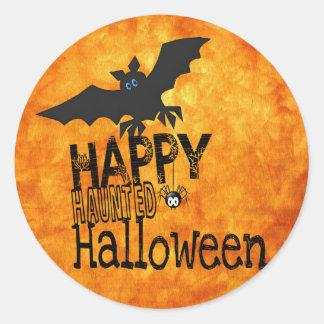bats happy halloween classic round sticker