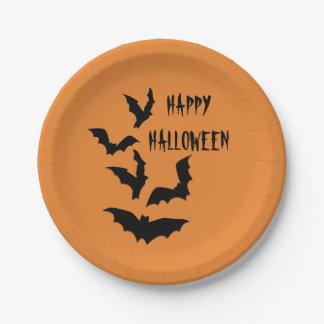 Bats Happy Halloween Orange Party Paper Plate