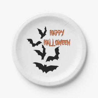 Bats Happy Halloween Paper Plate