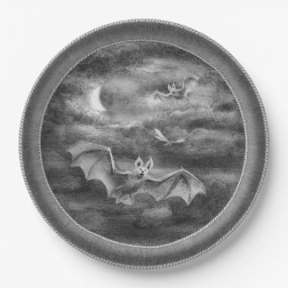 Bats on a Moonlit Night 9 Inch Paper Plate