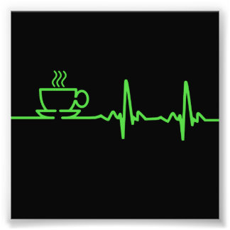 Battement de coeur ECG de café de matin Photographe