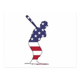 Batter - American Flag Postcard