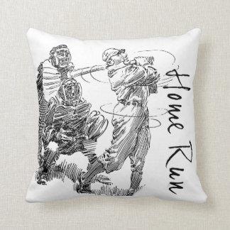 Batter Hits a Home Run Throw Pillow