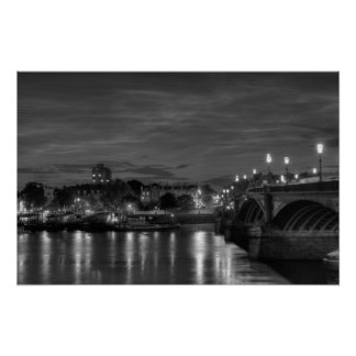 Battersea Bridge and Chelsea at night Poster