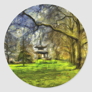Battersea Park Pagoda Art Classic Round Sticker
