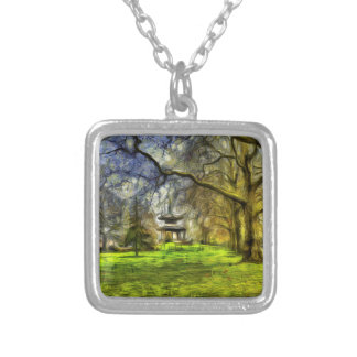 Battersea Park Pagoda Art Silver Plated Necklace