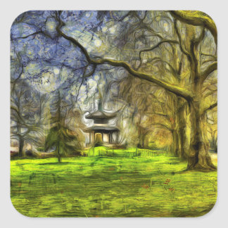 Battersea Park Pagoda Art Square Sticker