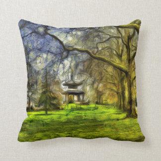 Battersea Park Pagoda Art Throw Pillow