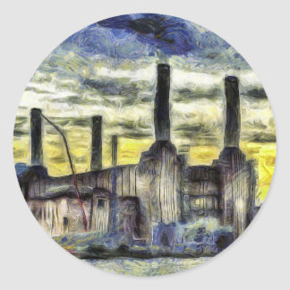 Battersea Power Station London Art Classic Round Sticker