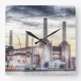 Battersea Power-Station London Snow Square Wall Clock