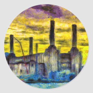 Battersea Power Station Sunset Art Classic Round Sticker