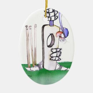BATTING LESSON, tony fernandes Ceramic Oval Ornament