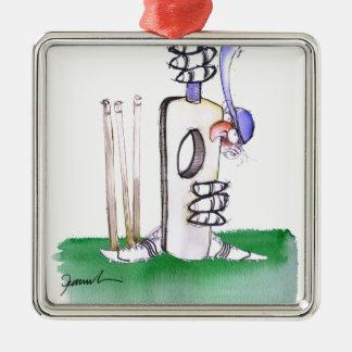 BATTING LESSON, tony fernandes Silver-Colored Square Ornament