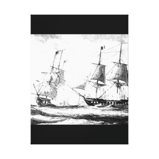 Battle betweeen U.S. frigate Constellation and Fre Canvas Print