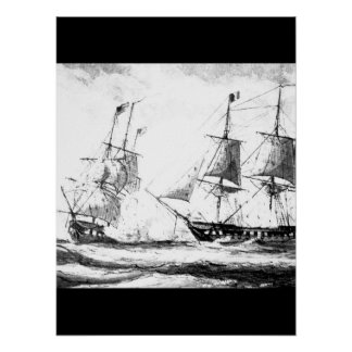 Battle betweeen U.S. frigate Constellation and Fre Poster