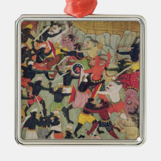 Battle Between the Armies of Rama and Ravana Silver-Colored Square Ornament