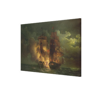 Battle Between the French Frigate 'Arethuse' Canvas Print