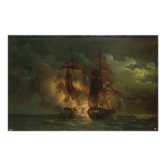 Battle Between the French Frigate 'Arethuse' Poster