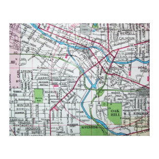 BATTLE CREEK, MI Vintage Map Canvas Print