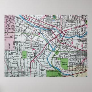 Battle Creek, MI Vintage Map Poster