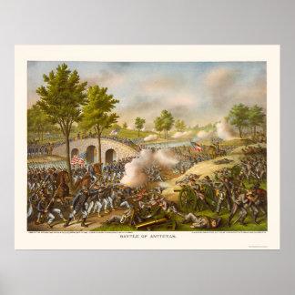 Battle of Antietam Showing General McClellan 1862 Poster